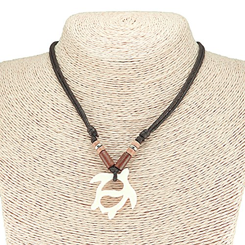 Hand Carved Bone Sea Turtle Pendant on Adjustable Rope Cord Necklace with Wood Beads (Brown)