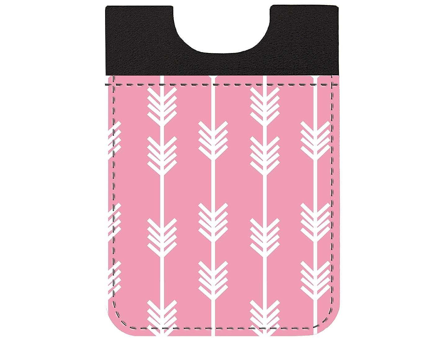 Trendy Boho Pink Arrow Design Genuine Leather Card Caddy Credit Card Phone Wallet