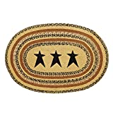 VHC Brands Classic Country Primitive Flooring - Kettle Grove Tan Stenciled Star Jute Rug, 2' x 3'