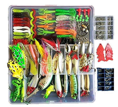 Fishing Lure with Tackle Box 275Pcs Included Pencil Bait Popper Fish Frogs Lures Fishing Spoons for Bass Soft Plastic Baits ()