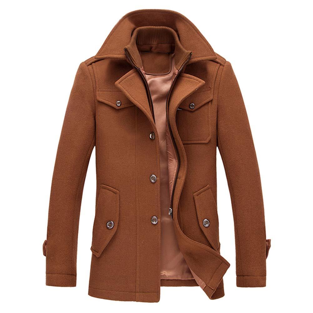 YOUTHUP Men's Coats Zip Wool Coat Elegant Warm Winter Jacket Trench Coat Tweed Outwear