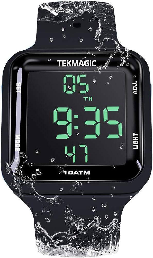 Reloj Resistente al Agua 10 ATM 100m Luminoso Reloj de Buceo con Funciones de Despertador, Cronómetro, Zona Horaria Dual, Calendario, Formato de 12/24 Horas