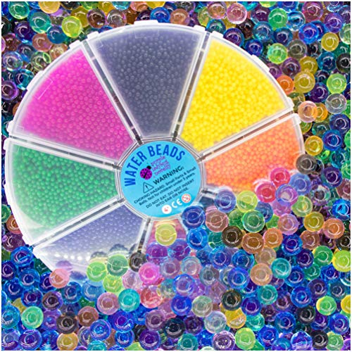 Non Toxic & Fully Certified Water Beads for Kids in a Gift Worthy Storage Container - 8 Separate Colors, Tested BPA & Phthalate Free, Great as Sensory Toys or as a Cool Gift for Girls and Boys!