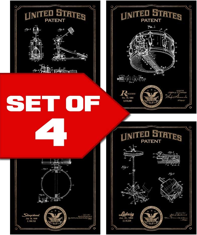 Wallables Classic Drums Patents Decor Set of Four 8x10 Vintage Drum Themed Decorative Prints, Great for Music Studio, Bachelor pad, Office, Living Room.