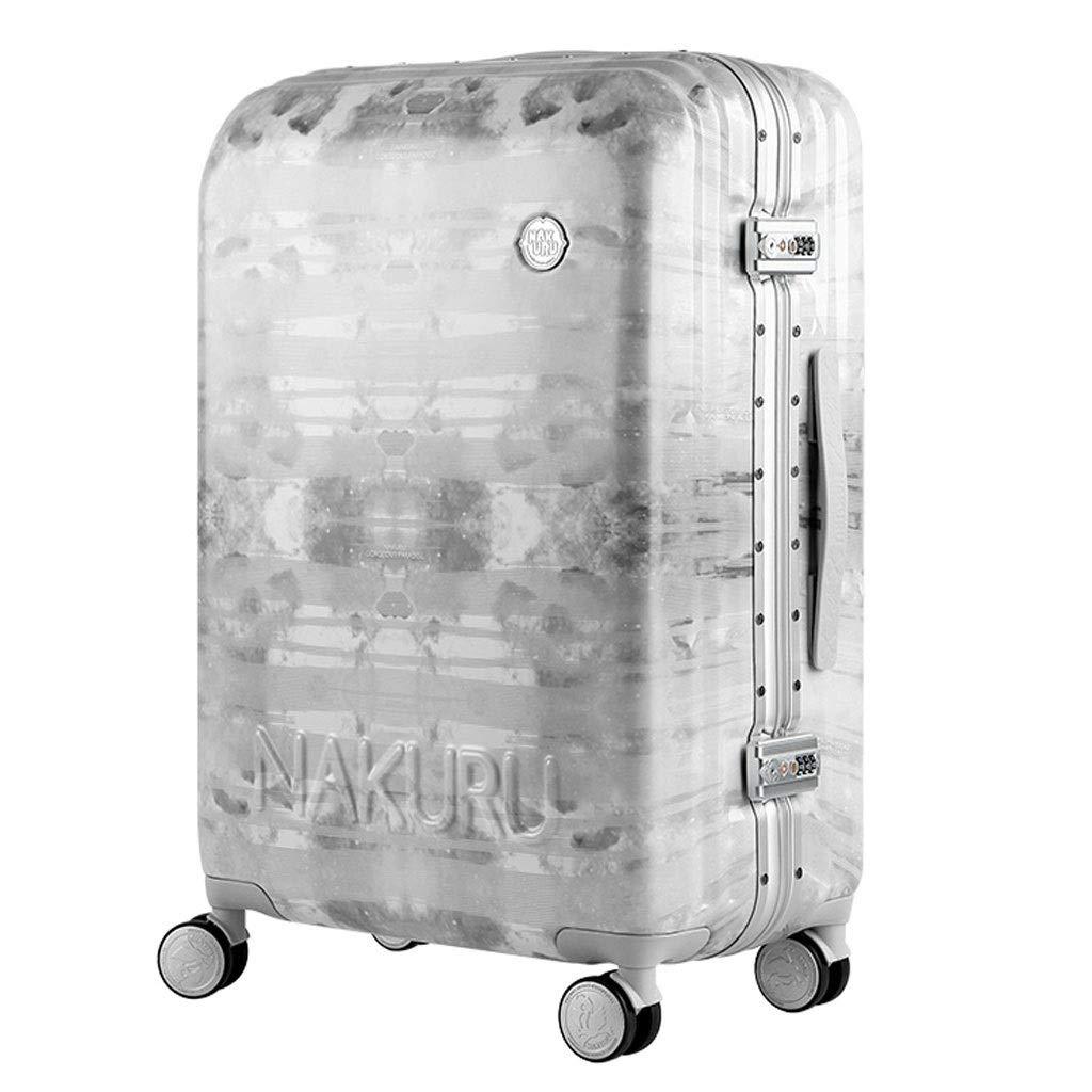 トロリーケース- リベットのアルミニウムフレームのトロリー箱の荷物24/26インチ、普遍的な車輪板スーツケーススーツケースの女性20インチ (Color : Gray, Size : 24in) B07VBZVZS8 Gray 24in