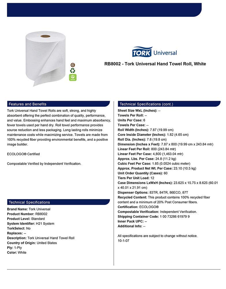 Tork Universal RB8002 Hardwound Paper Roll Towel, 1-Ply, 7.87'' Width x 800' Length, White (Case of 6 Rolls, 800 per Roll, 4,800 Feet) (Тwo Рack) by Tork (Image #5)