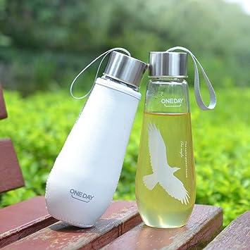 Oneday botella de agua de 481 gr hecha de vidrio sin BPA para usarlo al aire libre, de acampada, a prueba de fugas., mediano: Amazon.es: Deportes y aire ...