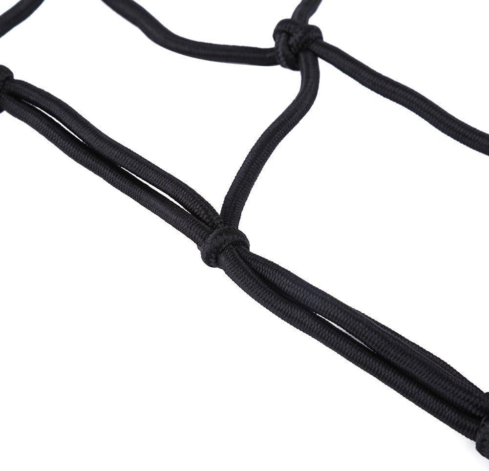Motorrad Fahrrad Gep/äckspanner Spannseil elastisches Seil Last Abdeckung Cord Web Netz Gep/äck Sicherungsnetz mit 6 Haken Schwarz Motorrad Gep/äcknetz