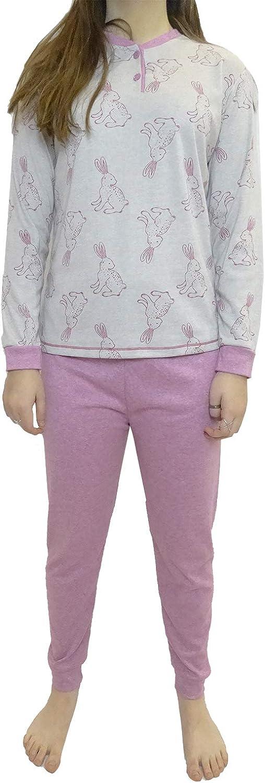 Pigiama Donna in Cotone Cotone con Stampa Coniglio e Pantaloni Lunghi a Tinta Unita con Polsino//Vestiti Comodi per Dormire Mini kitten