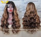 Balayage ombre Human Virgin Hair lace front glueless Body wave wigs with baby hair (24''150%)