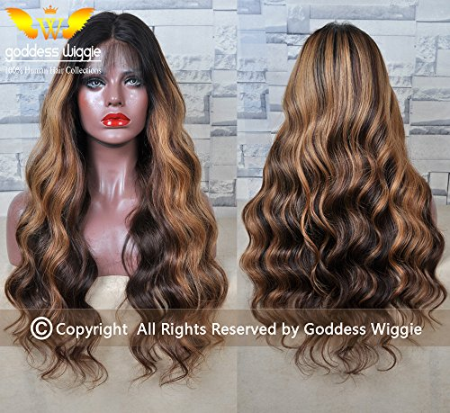 Balayage ombre Human Virgin Hair lace front glueless Body wave wigs with baby hair (24''150%) by Goddess