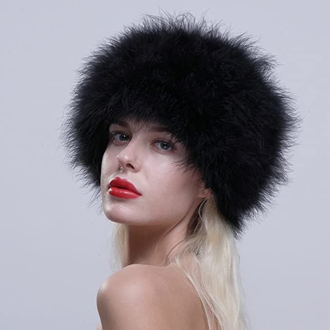 ac652e82903 URSFUR Women Winter Fur Cap Genuine Ostrich Feather Fur Pill Box Hat Black  at Amazon Women s Clothing store
