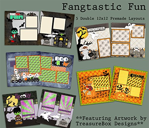 Fangtastic Fun Scrapbook Set - 5 Double Page Layouts -