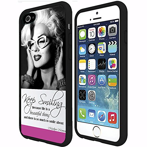 "Pink, Black, and White ""Keep Smiling"" Marilyn Monroe in Cat Rimmed Glasses RUBBER Snap on Phone Case (iPhone 6 Plus)"