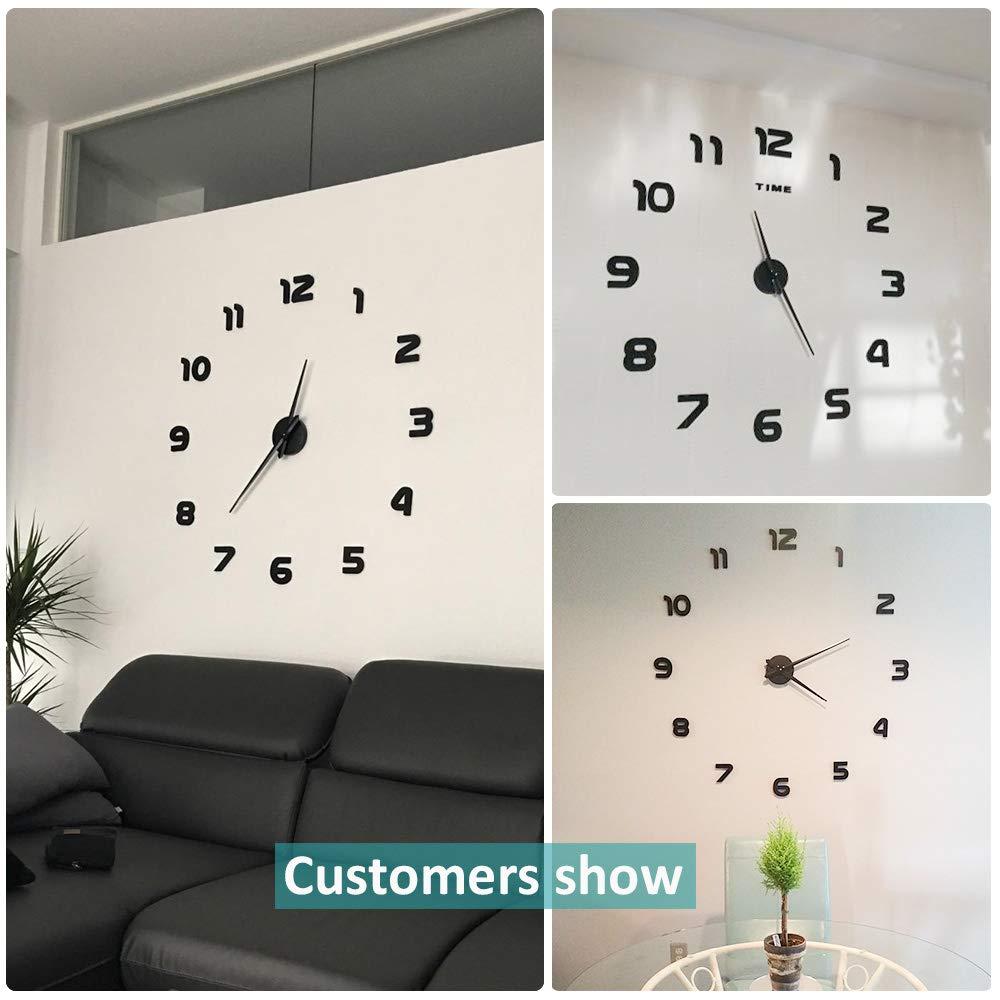 VANGOLD Mute DIY Reloj de Pared sin Marco Espejo Grande 3D Sticker-2 años de garantía (Negro): Amazon.es: Hogar