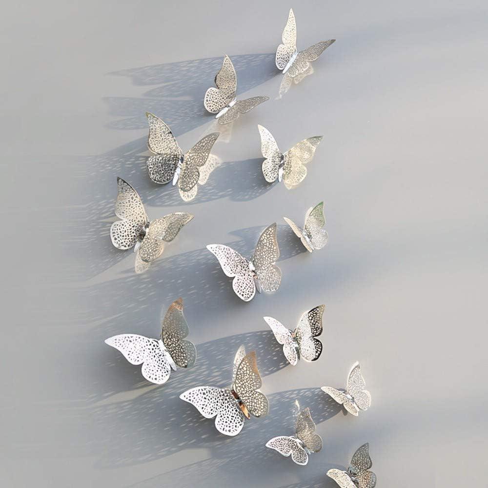 YWLINK 12 Pcs 3D Hollow Pegatinas De Pared Mariposa Refrigerador para La DecoracióN Casera Nuevo: Amazon.es: Hogar