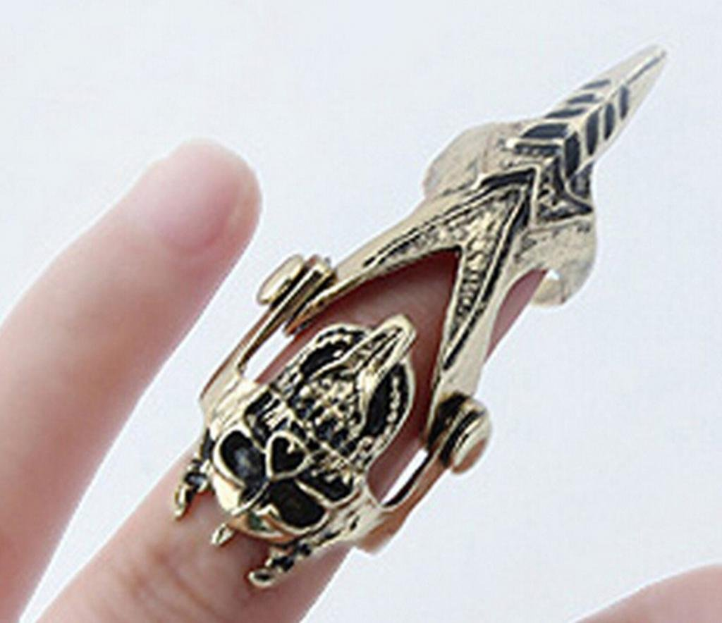 Vintage Steampunk Skull Knuckle Hinged Full Finger Ring With Skeleton Jewelry 3