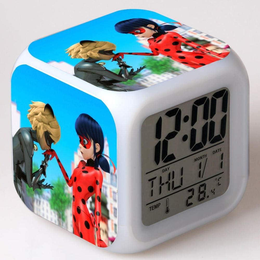 Superd Mesita de Noche para niños Reloj Despertador Digital LED luz de Noche Colorida Estado de ánimo Alarma Reloj Cuadrado Mudo con Puerto de Carga USB Viaje pequeño Reloj Despertador Regalo Q80