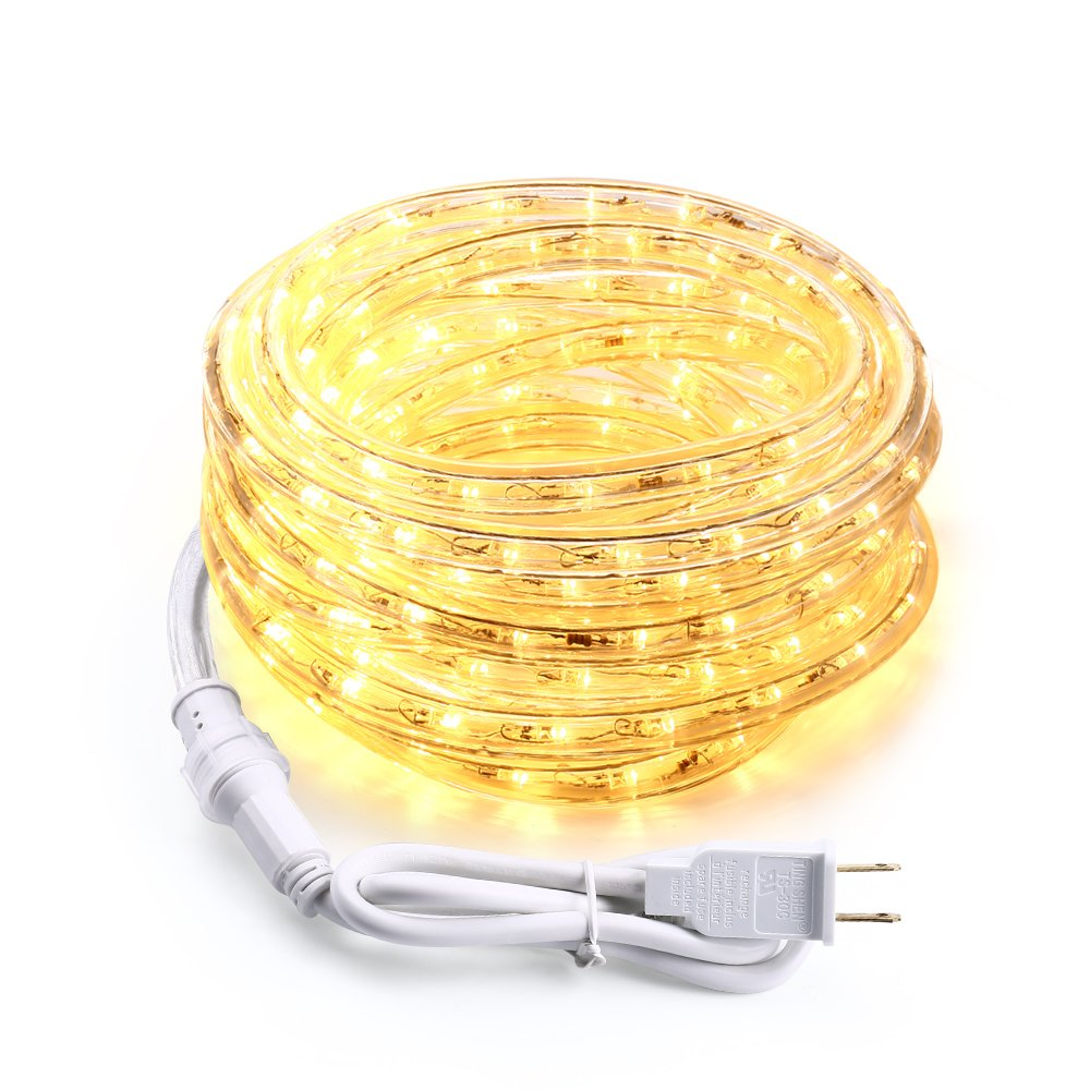 Brizled 18ft 216 LED Rope Lights, 120V UL Listed Plugin Rope Lights Connectable with Clear PVC Tube, Indoor/Outdoor Decorative Rope Lighting for Backyards, Garden, Patio, Christmas, Warm White(3000K)