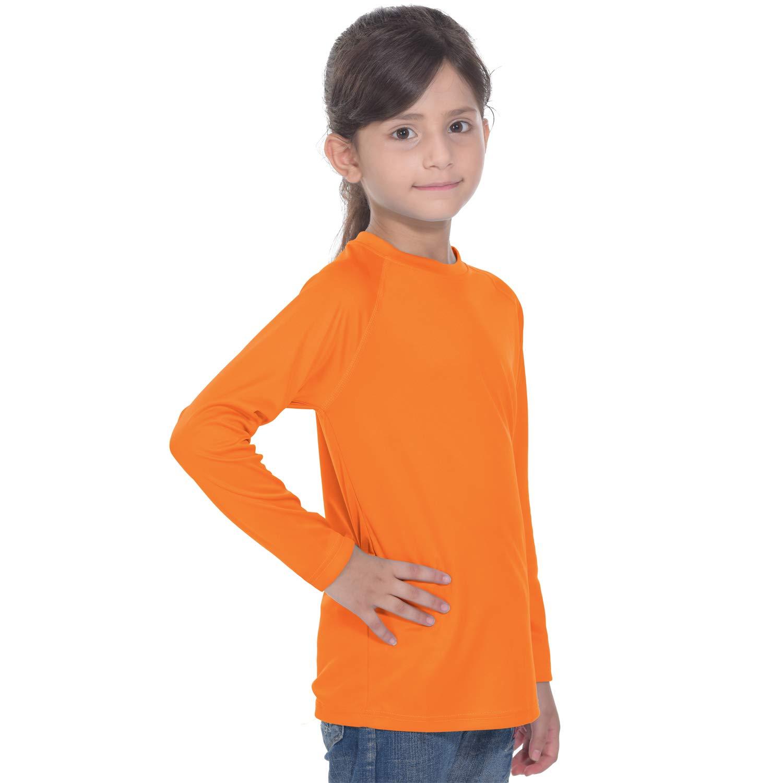 Girls Long Sleeve Rash Guard Sun Shirts Orange by PIQIDIG