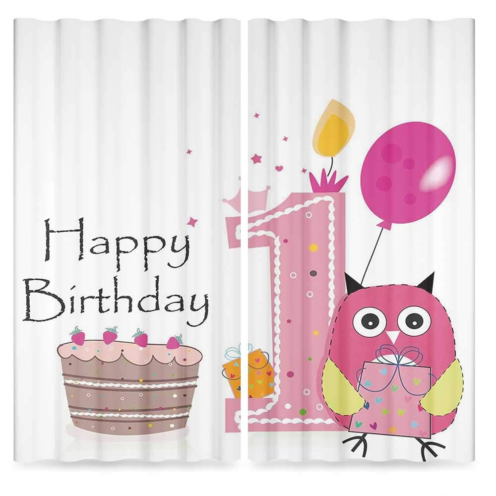 1st Birthday Decorations Bedroom Curtains Blackout,First Birthday Cake Candle Sketchy Cartoon Owl Image,for Living Room, 2 Panel Set, 28W X 39L Inches