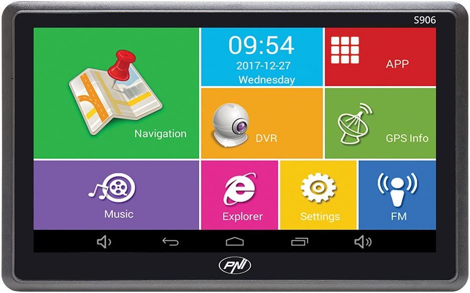 Sistema de navegación GPS de 7 Pulgadas y Coche DVR Dash CAM Integrado PNI S906, Android 6.0, Mapas Here y Waze preinstalados