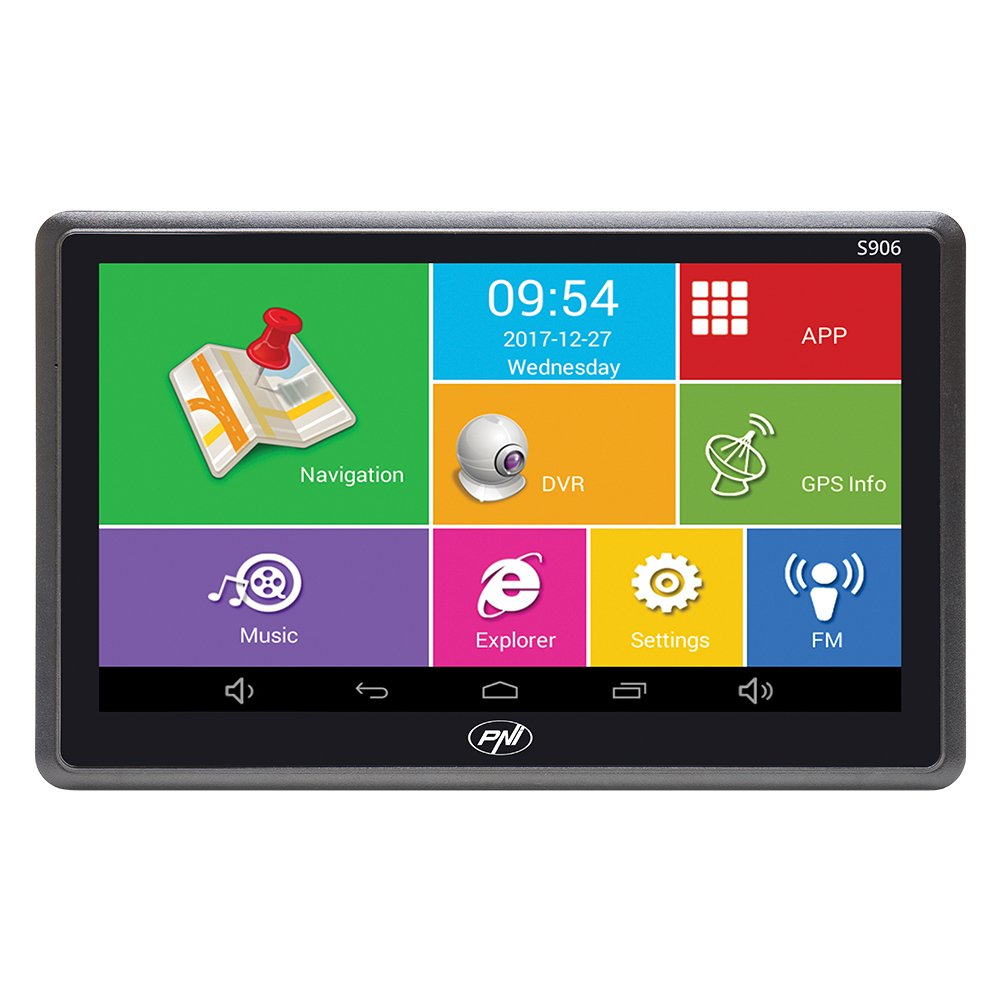Système de Navigation GPS de 7 Pouces et Voiture DVR Dash Cam intégré PNI S906, Android 6.0, Ici Cartes et Cartes Waze préinstallé