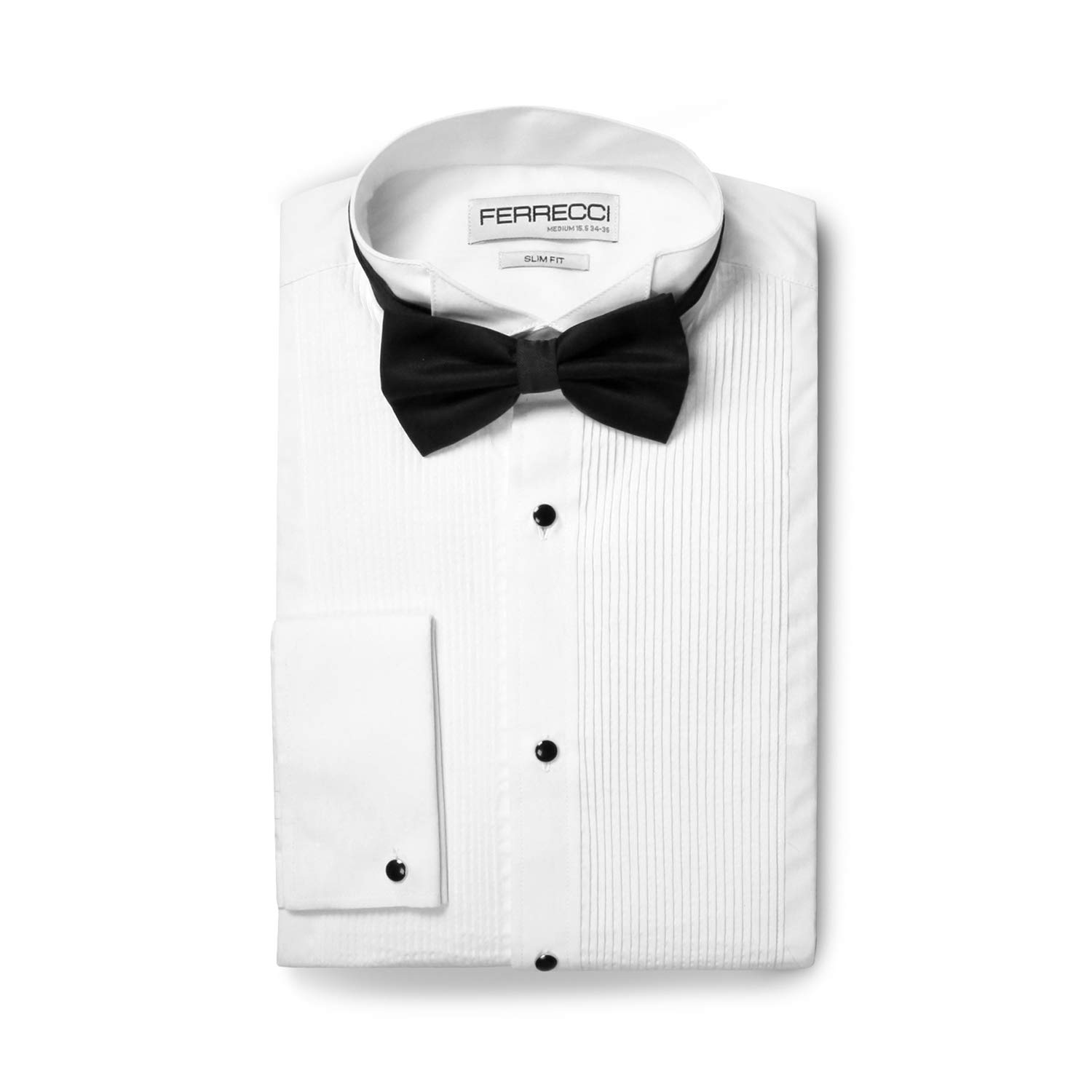 Ferrecci Men's Max White Slim Fit Wing Tip Collar Pleated Tuxedo Shirt with Bowtie (M15.5 32) by Ferrecci
