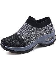 pretty nice f17f9 a3e60 Zapatillas Deportivas de Mujer Gimnasio Zapatos Running Deportivos Fitness  Correr Casual Ligero Comodos Respirable Negro Gris