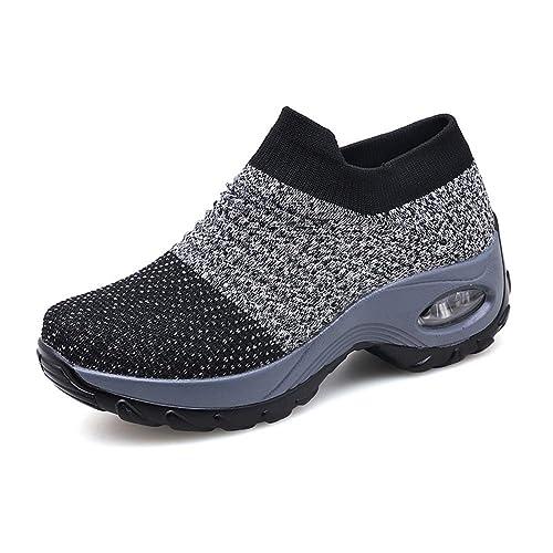 Zapatillas Deportivas de Mujer Gimnasio Zapatos Running Deportivos Fitness Correr Casual Ligero Comodos Respirable Negro Gris Morado 35-42: Amazon.es: ...