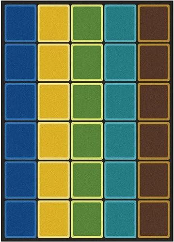 Joy Carpets Kid Essentials Early Childhood Blocks Abound Rug, Earthtone, 7 8 x 10 9