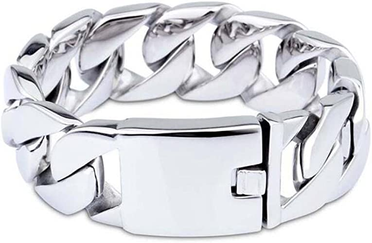 HEAVY MEN`S STAINLESS STEEL CUBAN CURB LINK SILVER FASHION NECKLACE JEWELRY 26MM