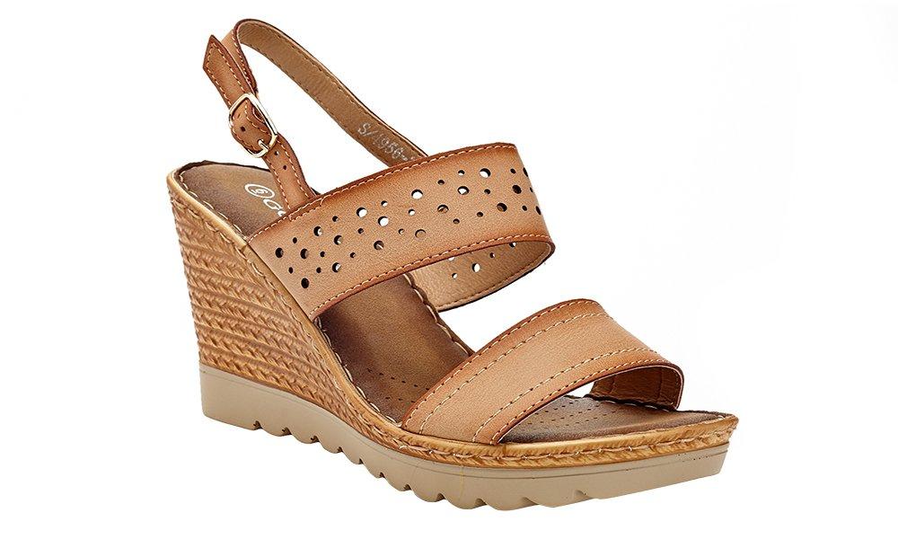 Lady Godiva Women's Open Toe Wedge Sandals Multiple Styles B079YYWHDF 10 B(M) US|Brown - 4956