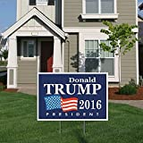 """BuildASign Donald Trump for President 2016 Elections Political Campaign Yard Sign w/Ground Stake - 12"""" x 18"""""""