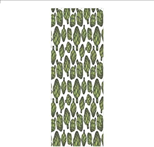 Decorative Privacy Window Film/Detailed Drawing of Super Foods Fresh Vitamin Sources Natural Nutrition Source/No-Glue Self Static Cling for Home Bedroom Bathroom Kitchen Office Decor Forest Green