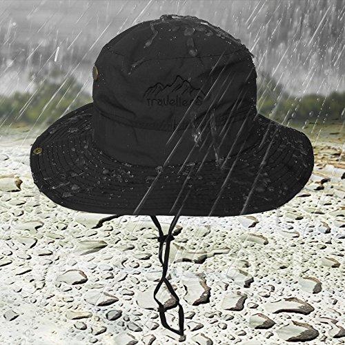 a6b2eedd88ec3 LETHMIK Outdoor Waterproof Boonie Hat Wide Brim Breathable Hunting Fishing  Safari Sun Hat Black