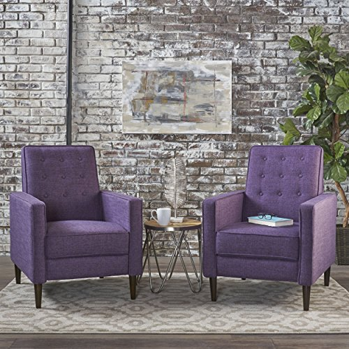 Mason Mid-Century Modern Tuft Back Recliner (Qty of 2, Fabric/Muted Purple)