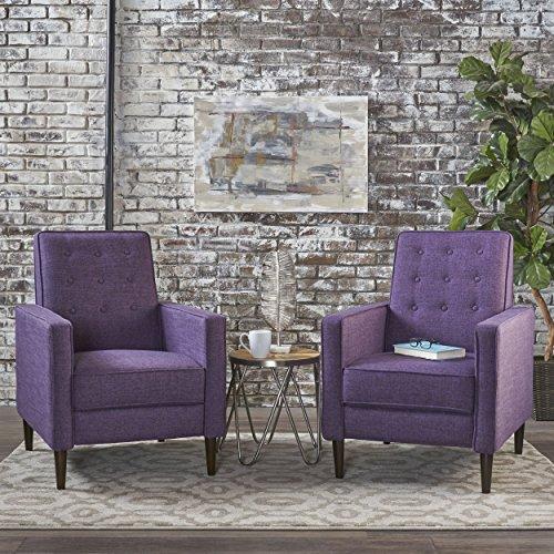 Christopher Knight Home 301377 Mason Mid-Century Modern Tuft Back Recliner Qty of 2, Fabric Muted Purple , Dark Espresso