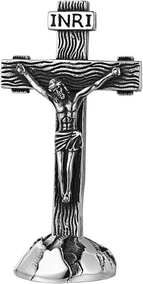 FaithHeart Crucifijo INRI Acero Inoxidable 316L con Base Cruz Desmontable para Mesa Dos Usos Cruz de Pie Accesorios Religiosos para Oraciones