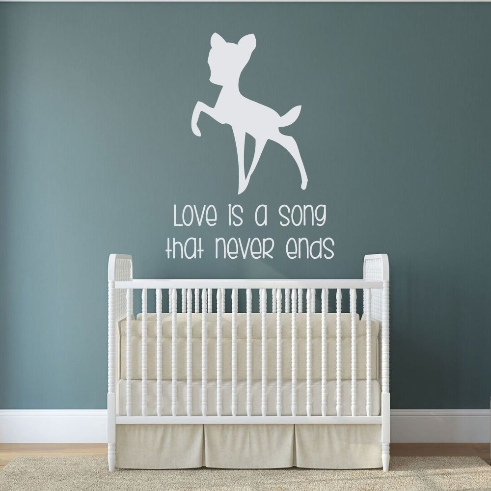 Daycare Nursery Wall Decals Bambi Love Song That Never Ends Vinyl Disney Wall Art for the Kids Room or Playroom
