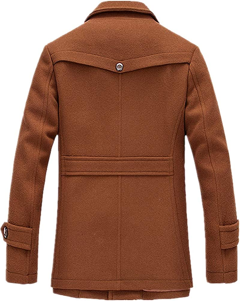 Newbestyle Mens Slim Fit Winter Warm Short Wool Blend Coat Business Jacket with Free Detachable Collar Layer S-2XL