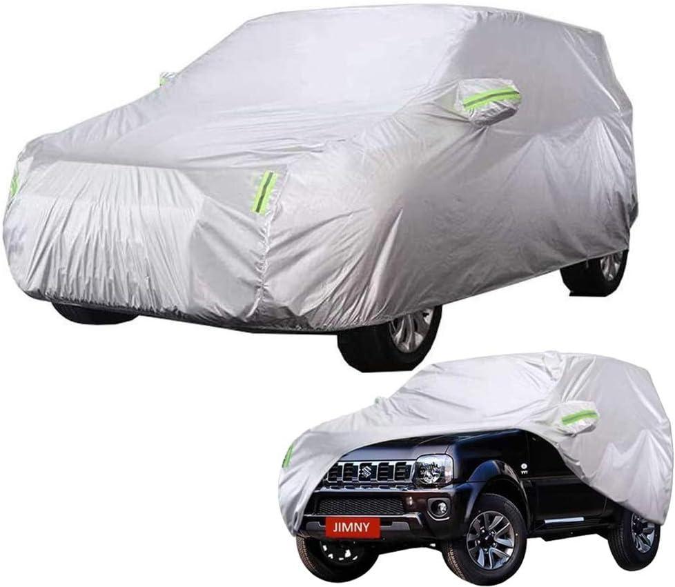 Cover Car Fit Suzuki Jimny SUV Schutz Gegen Die Sonne UV Wasserdicht Indoor-Outdoor-wasserdicht Atmungsaktiv Verwitterung Mit Rei/ßverschlusstasche Und Spiege Autoabdeckung Autoplane Auto Abdeckplane
