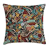 Queen Area Cinema Items Combined in an Abstract Style Popcorn Movie Reel The End Theatre Masks Square Throw Pillow Covers Cushion Case for Sofa Bedroom Car 18x18 Inch, Multicolor