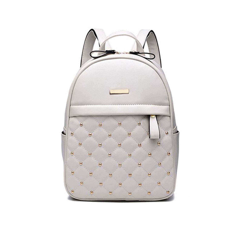 Women Backpack Fashion Casual bags shoulder bag PU Leather Backpacks,white