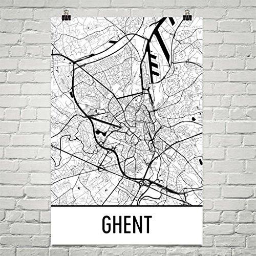 Ghent Map (Ghent Map, Ghent Art, Ghent Print, Ghent Belgium Poster, Ghent Wall Art, Map of Ghent, Belgian Gifts, Belgian Decor, Belgiaum Map Poster 24