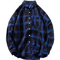 Bestow Los Hombres de otoño Invierno de Bolsillo de Manga Larga Jersey Sudaderas Top Blusa Camisa de Bolsillo de Cuadros a Cuadros