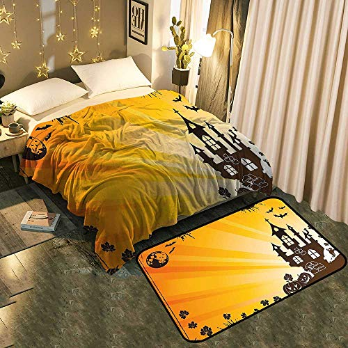 A Set of Blanket Floor Mat Halloween Scene with Haunted Gothic Castle Bats Ghost Theme Pumpkins Ora add a lot of Color to Your Life Blanket 50