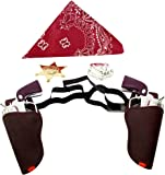 BC Western Cowboy Gun Set Brown and Chrome Colored Finish with Red Bandanna, and Silver and Gold Badge 1 of each item by Imprints Plus
