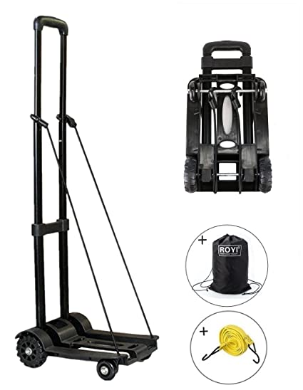 Moving and Office Use 70 Kg//155 lbs Heavy Duty 4-Wheel Solid Construction Utility Cart Compact and Lightweight for Luggage Travel Auto Portable Fold Up Dolly by ROYI Folding Hand Truck Personal
