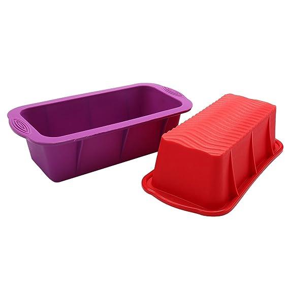 BESTOMZ Molde para Pan de Silicona / Molde para bizcochos o pan - Molde para Torta Antiadherente Rectangular con Empuñaduras para Mango (púrpura): ...